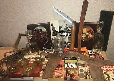 Junk Drawer Lot Western Vintage Collectible Lot Books Knives Silver Coins Horse