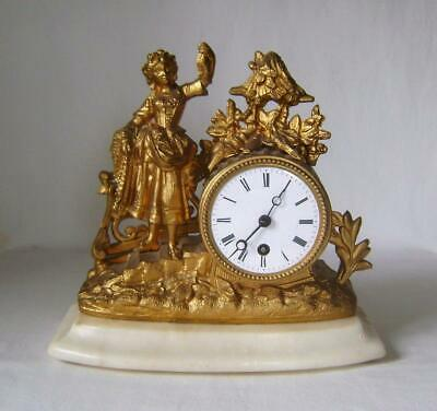 French Gilt Spelter Mantle Clock:Figure of a Girll: Marble Base Tic Tac Movement