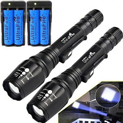 900000LM T6 LED Rechargeable High Power Torch Flashlight Lamps Light+Charger  UK