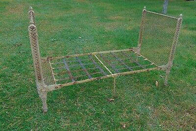Early American Victorian Cast Iron Campaign Bed Folding Frame Civil War Era