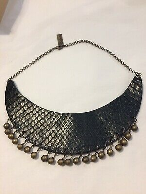 NEW Real Leather BLACK Choker Necklace BRONZE beads Cos Play Goth Punk RRP £60