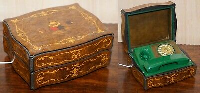 Vintage Green 1950'S Telephone Inside Burr Walnut Marquetry Inlaid Box Rare Find