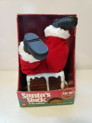 Gemmy SANTA STUCK IN CHIMNEY Animated Talking Christmas Decoration Toy