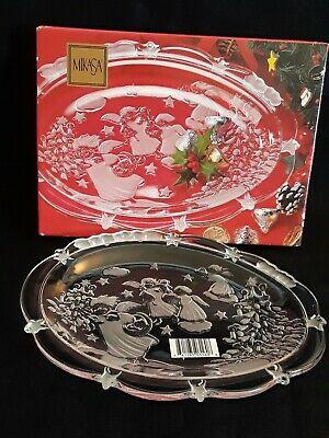 "Mikasa Holiday Lights Glass Crystal Serving Candy Dish 9-1/4"" Oval~Germany"