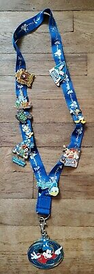 Walt Disney World Lot of 9 Trading Pins on Lanyard - Plus Lanyard Clip Charm