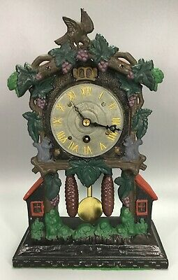 Cuckoo Clock Cast Metal Mantel Clock 8 Day Key Wind