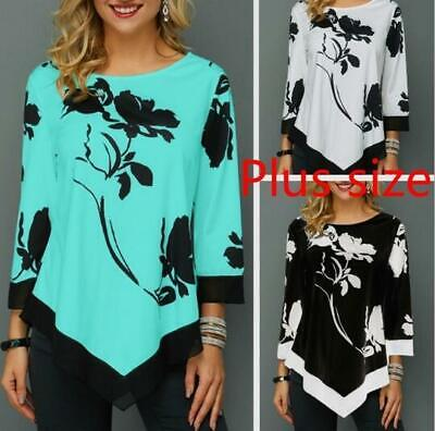 Womens Autumn Print Floral Irregular Tops 9/10 Long Sleeves Blouse Casual Loose