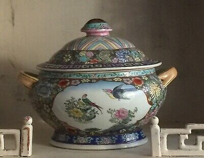 IMPORTANT VERY LARGE 18th CENTURY CHINESE CERAMIC TUREEN EXCELLENT OLD ESTATE