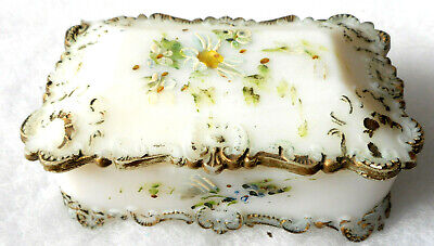 Antique Victorian Opaque White Milk Glass covered Trinket Box Vanity Dish W/ Lid
