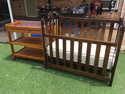 Hard wooden kids bed and baby change table