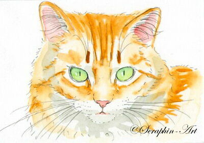 Original ACEO Watercolor Miniature Ginger Tabby Cat Painting Kitten Seraphin-Art