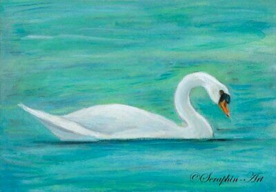 Swan Original Watercolor Pencil Painting ACEO Wildlife Bird Seraphin-Art