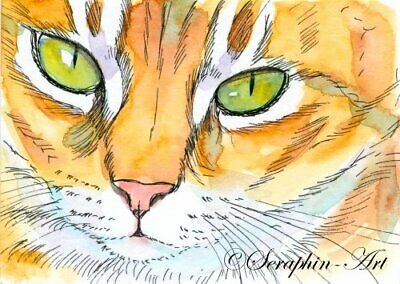 Ginger Tabby Cat Original ACEO Watercolor Painting Kitten Miniature Seraphin-Art
