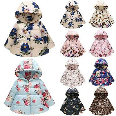 Kid Baby Girls Floral Cotton Coat Winter Warm Hooded Hoodie Parka Jacket Outwear
