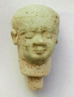 Faience small head Pataikos, egypt, circa 713-332 B.C
