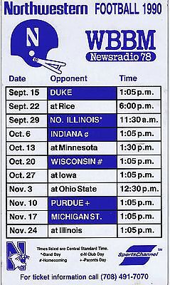 1990 Northwestern Wildcats Wbbm/Sports Channel Football Magnet Schedule Sked