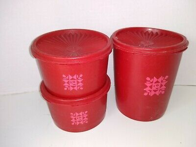 Vtg TUPPERWARE Red 6-Pc Servelier CANISTER SET 3 Containers+3 Lids Quilt Pattern
