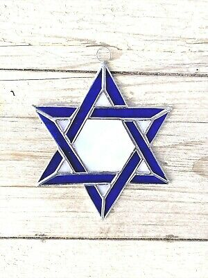 Leaded Stained Glass Round Sun Catcher Plum Star of David  Hanging 7/'/'