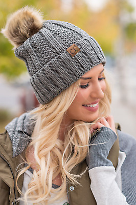 *BRAND NEW* C.C Knit Fuzzy Pom Beanie for Women - The Perfect Winter Accessory