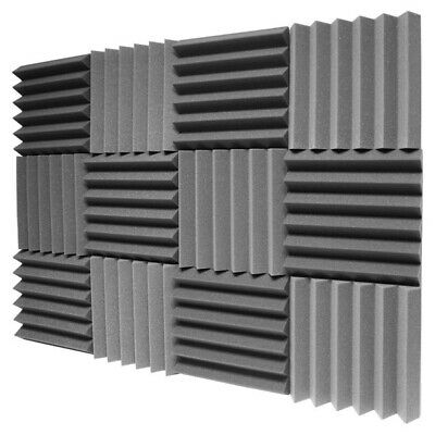 """12 Pack 12""""x12""""x2"""" Acoustic Foam Char Panel Tiles Wall Record Studio Sound Proof"""