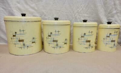 Mid Century Modern Metal Canister Set-4 Pieces Decorated w/ Atomic 1950s Kitchen