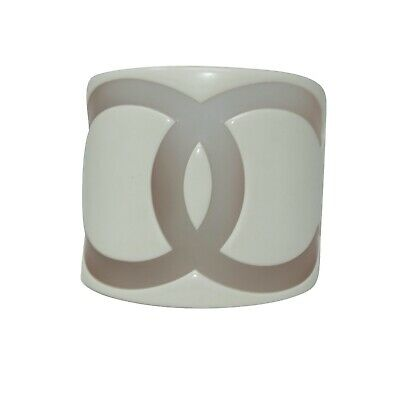CHANEL 01 Vintage Off-White Resin & Clear Acrylic Wide CC Logo Bangle