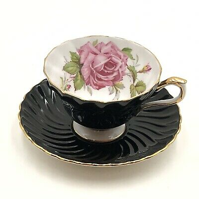 Vintage Aynsley Swirled Black & Gold Cup & Saucer With Pink Cabbage Roses