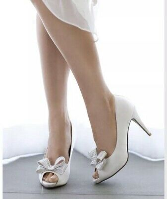 Peetoe Brand White Silk Ivory Bridal Wedding Bow Diamanté Shoes Heels EU 35 New