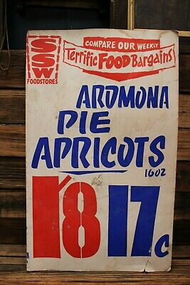 Vintage SSW Foodstores Supermarket Shop Sales Sign Apricots Old Store Cardboard