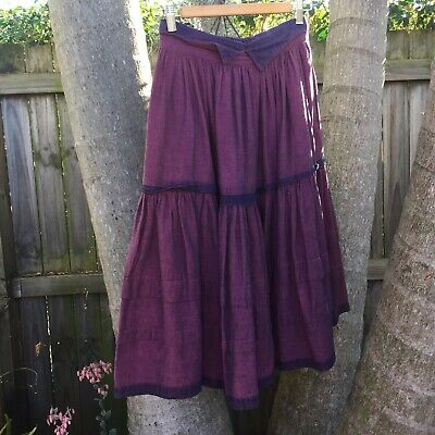 Vintage 80's Purple Jag Lightweight Denim Skirt Size 8-10 Steampunk Victoriana
