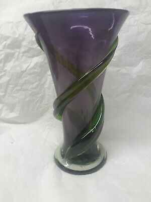 Stunning Vintage Hand Blown Glass Vase Teleflora Purple with Green Vine Applied
