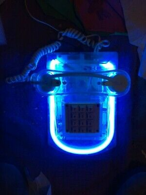 RARE Vintage Blue Neon Light Fluorescent Landline Telephone Cord House Phone
