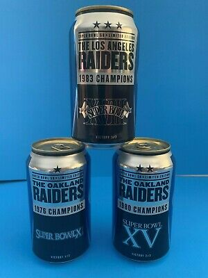 2015 Complete Oakland Raiders Super Bowl Bud Light Beer Cans