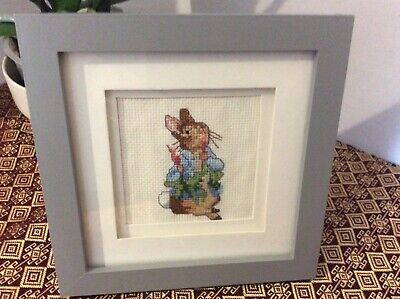 Peter Rabbit Framed Crossstitch in Grey Frame Wall or Freestanding 18 x 18 cm
