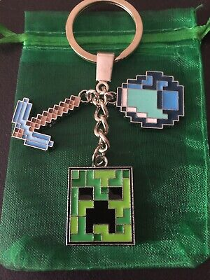 MINECRAFT Charm CREEPER Diamond PICKAXE Strong Key ring KEYCHAIN Bag Tag GAMER
