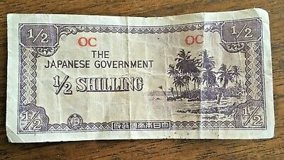 THE JAPANESE GOVERNMENT 1/2 SHILLING NOTE made 1941-44 by JAPAN ARMED FORCES