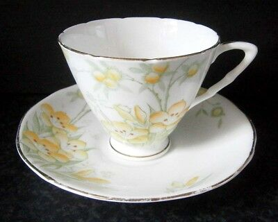 Vintage English Bone China Royal Stafford Yellow Flowers Cup & Saucer Duo