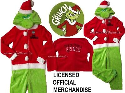 THE GRINCH Onesy Sleepsuit Boys Girls One Piece Pyjama Christmas All In One New