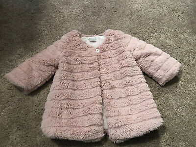 Baby Girls Faux Fur Dusky Pink Coat From Mamas And Papas 3-6 Months