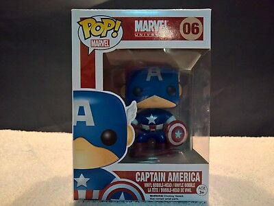 Funko Pop Vinyl CAPTAIN AMERICA Figure 06 BOBBLE HEAD Detachable Shield AVENGERS