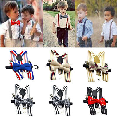 Fashion Kids Baby Boys Wedding Match Braces Suspenders and Luxury Bow Tie Set V