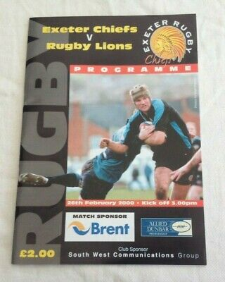 2000  EXETER CHIEFS v RUGBY LIONS  RUGBY PROGRAMME.