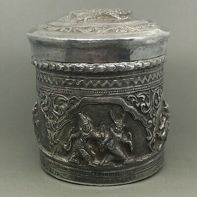 VERY FINE Antique Burmese Indian Solid Silver Tea Caddy c1880 - 150.8g