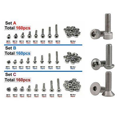 Nuts Screws Assortment Fasteners Stainless steel Flat socket Practical