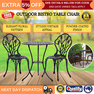 3PC Outdoor Setting Cast Aluminium Table Chairs Garden Patio Bistro Dining Set