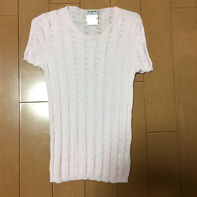 Authentic CHANEL Vintage CC Logos Short Sleeve Knitted T-Shirt Blouse Light Pink