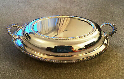 Antique style oval serving dish with base and lid, Walker & Hall Sheffield, EPNS