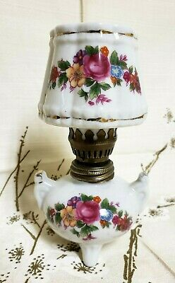 Vintage Miniature Porcelain Oil Lamp Painted Floral Porcelain Ceramic Lamp 6""
