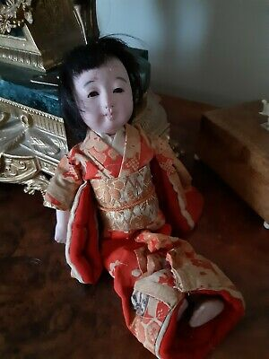 Large 10 Inch Antique Ichimatsu Oriental Japanese Doll In Original Outfit