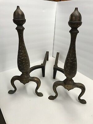 "Vintage Antique Pair Cast Iron Fireplace Andirons Acorn Fire Dogs 18"" Tall"